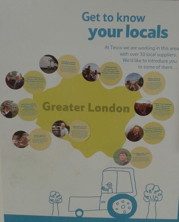 Mapa de Londres en un Tesco con información de los productos locales.