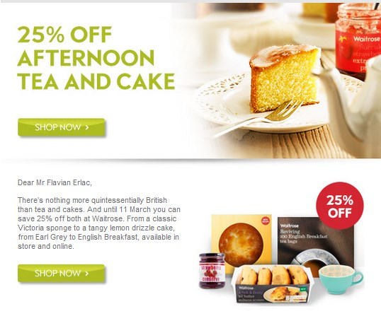 Waitrose - tea time promotion