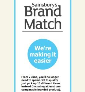 Anuncio del cambio en las condiciones del Brand Match. Fuente: Sainsbury's