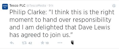 Philip Clarke, uno de los primeros CEOs del retail con cuenta de Twitter, utiliza este medio también para despedirse.
