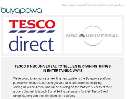 "Nota de prensa de Buyapowa... Tesco va a vender productos de ""entretenimiento"" de una forma entretenida."