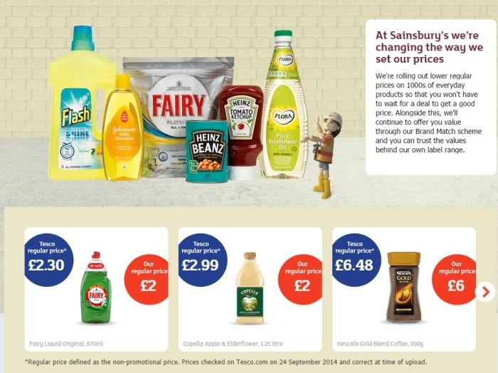 Los precios de Sainsbury's, en construcción. Las tiendas se han llenado de albañiles que están cambiando los carteles. Fuente: Sainsbury's
