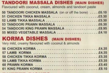 Ejemplo de menú típico de un restaurante Take Away