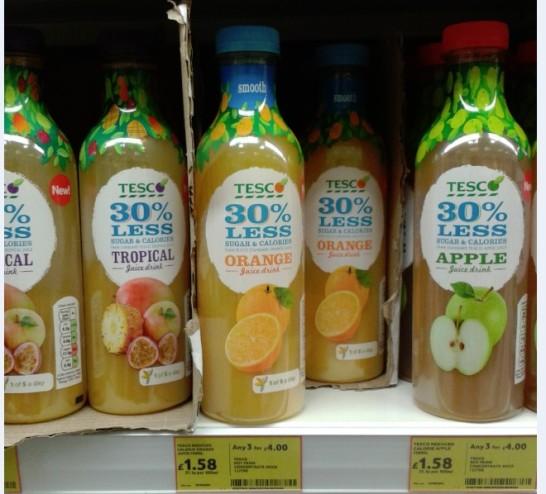 Los zumos de Tesco reformulados para contener menos azúcar.