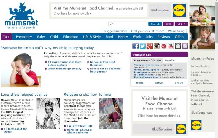 El renovado portal de Alimentación de Mumsnet.