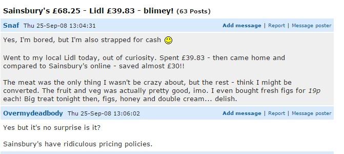 En los foros son frecuentes los comentarios sobre Lidl, y Aldi. Con frecuencia positivos, como este.