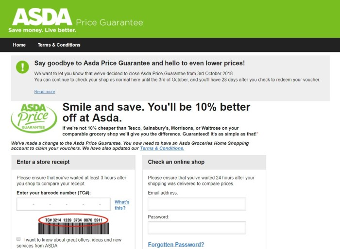 Asda Price Guarantee End